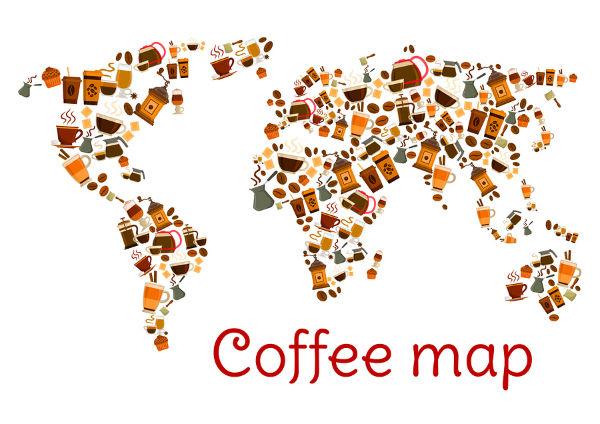 מפת עולם מפולים וקפסולות קפה